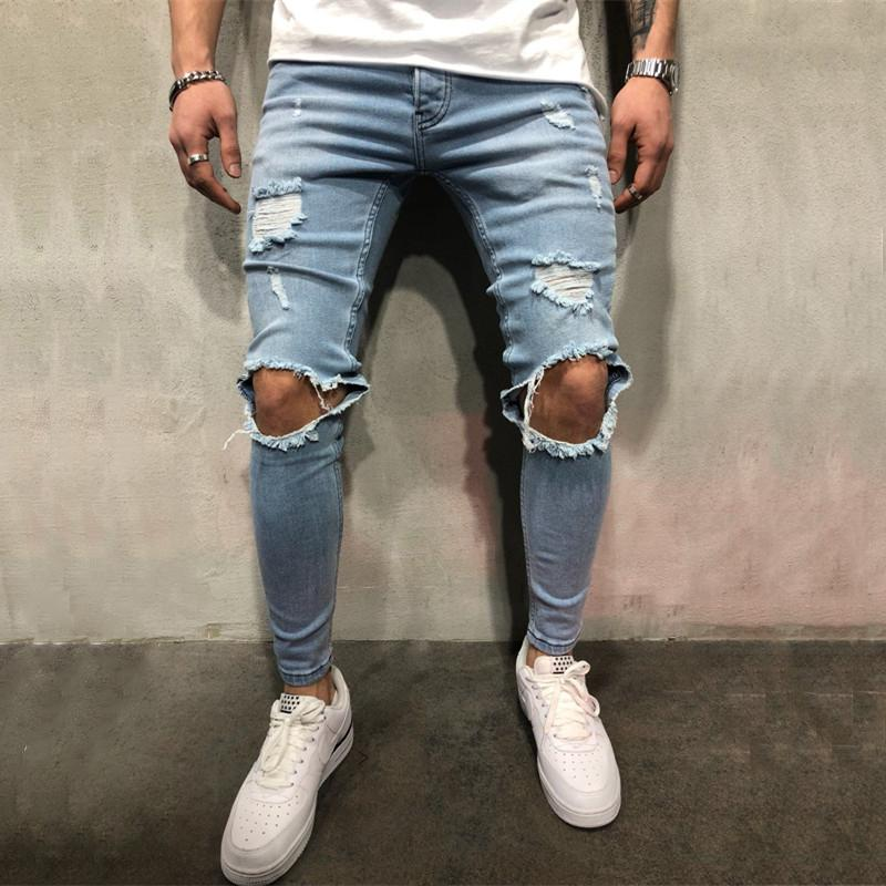 Men Knee Ripped Skinny Jeans Cool Fashion Style Distressed Jogger Jeans