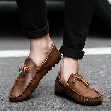Men Loafer Shoes Genuine Leather Soft Comfortable Moccasins Shoes