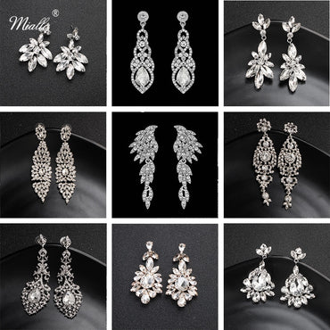 Women Fashion Austrian Crystal Alloy Bridal Long Earrings
