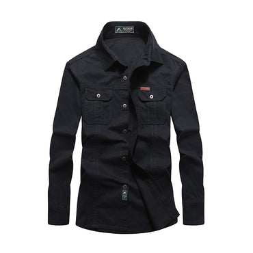 Men Military Style Casual Denim Shirt