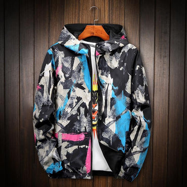 Men jacket fashion double sides wearable colorful painted streetwear hooded jackets