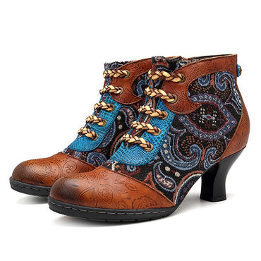 Women Retro Splicing Genuine Leather Winter Ankle Boots