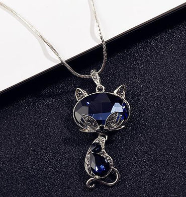 Women Elegant Crystal Fox Cat Long Necklaces