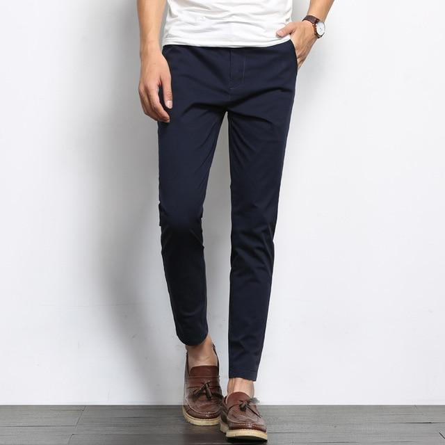 Men Fashions Solid Color Casual Straight Slight Elastic Pants