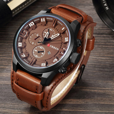 Luxury Design Men Leather Premium Business Class Quartz Watches