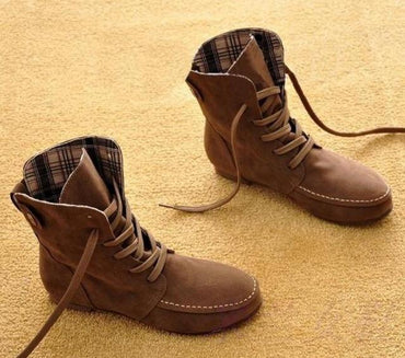Woman Ankle Boots Suede Leather Lace Up Rubber Fashion Style