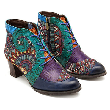 Women Retro Cowgirl Genuine Leather Splicing Ankle Boots