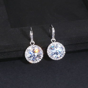 Women Elegant Classic Round Drop Crystal Earrings