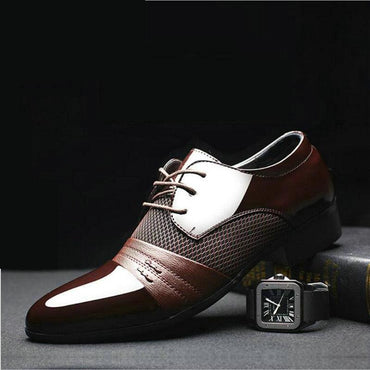 Men Dress Shoes Fashion Design Lace-Up Leather Oxford Shoes