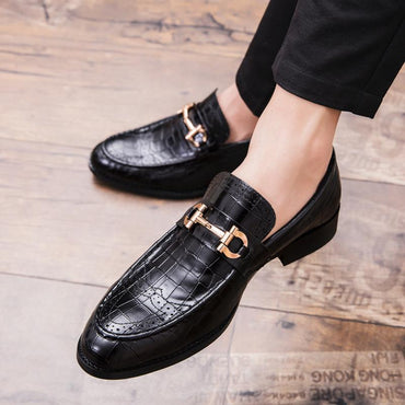 Men Formal Dress Shoes Luxury Crocodile Pattern Genuine Leather Loafers Shoes