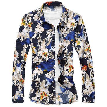 Men Fashion Flower Print Casual Hawaii Shirt