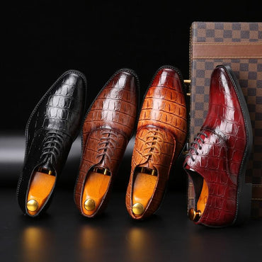 Men Dress Shoes Luxury Design Handmade Leather Lace-up Formal Shoes