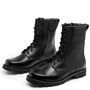 Men Boots Steel Toe Military Style Genuine Leather Combat Boots