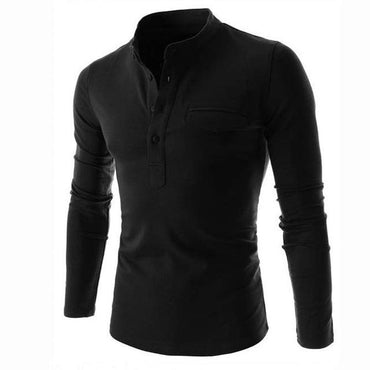 Men Fashion Long Sleeve Stand Collar Vintage Tshirt