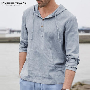 Men's Linen Hooded Long Sleeve Striped T-shirt