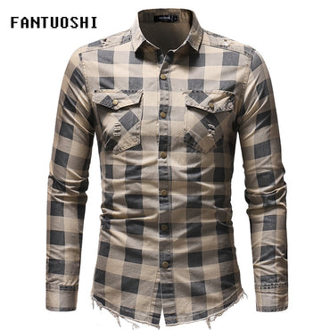 Fashion Streetwear Men Long Sleeve Slim Fit Shirt