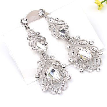 Vintage Fashion Long Crystal Drop Earrings