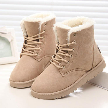 Classic Women Winter Boots Suede Warm Fur Plush Insole High Quality Snow Boots