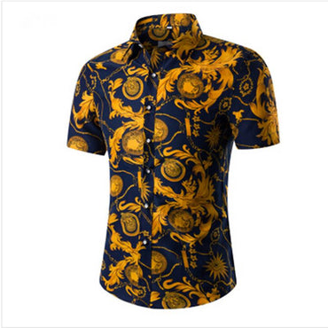 Men Fashion Short Sleeve Hawaiian Floral Shirt