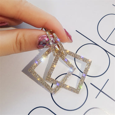 WOmen Shining Rhinestone Geometric Drop Earrings