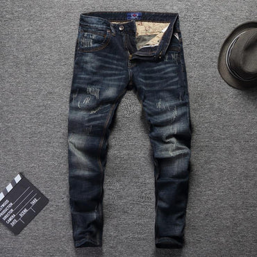 Vintage Designer Men Jeans High Quality Slim Fit Ripped Jeans