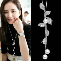 Elegant Leaf Simulated-Pearl Women Necklaces