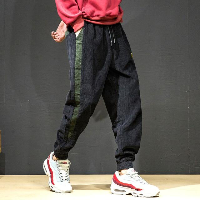 Men Joggers Baggy Corduroy Fashion Hip Hop Harajuku Striped Vintage Harem Pants