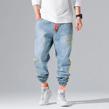 Streetwear Men Side Stripe Hip Hop Baggy Joggers Jeans