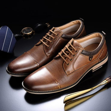 Men Dress Shoes Genuine Leather Lace-up Fashion Oxford Shoes