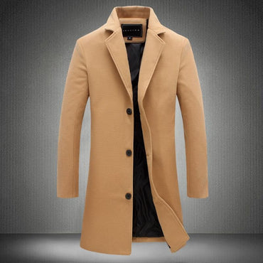 Men Trench Coat Solid Color Wool Blended Premium Quality Long Coat