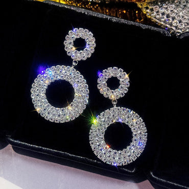 Luxury Shining Rhinestone Women Drop Earrings