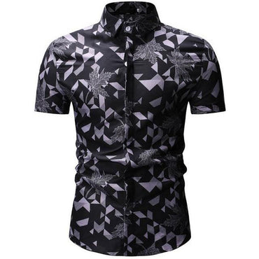 Men Hawaiian Short Sleeve Floral Shirt