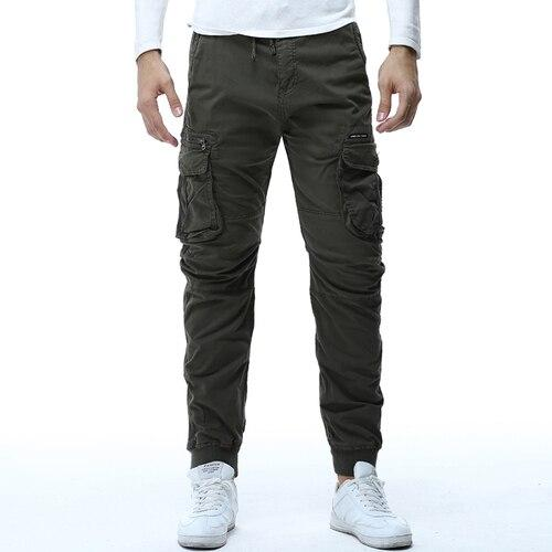 Men Cargo Pants Casual Hip Hop Ribbon Safari Style Joggers
