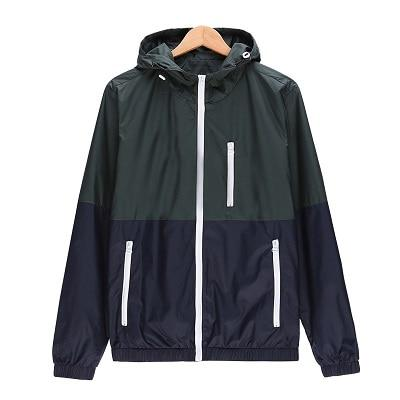 Men Jacket New Fashion Windbreaker Lightweight Hooded Contrast Color Zip Up Jacket