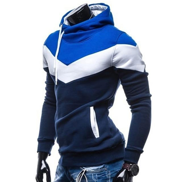 Men Hoodies Fashion Stitching Hip Hop Long Sleeve Silm Hoodies