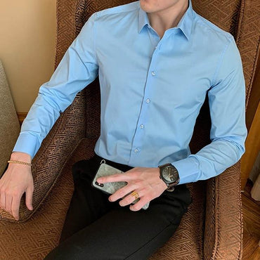 New Fashion Men Cotton Long Sleeve Solid Dress Shirt
