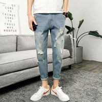Unique Style Men Fashion Distressed Ripped Hole Jeans