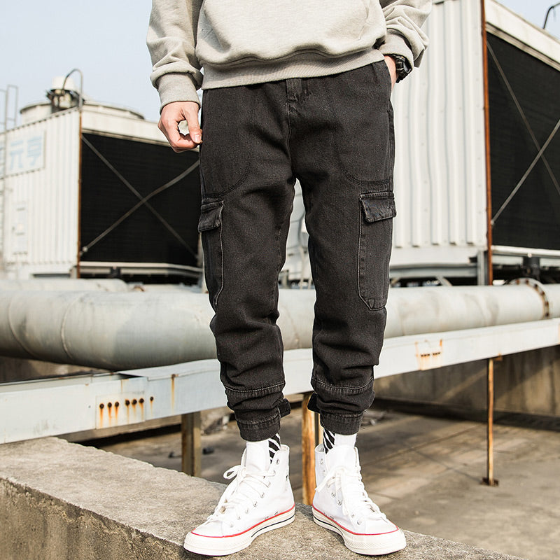 Men Vintage Fashion Washed Hip Hop Joggers Jeans