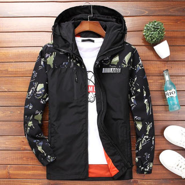Men Jackets Camouflage Military Style Hooded Zipper Windbreaker Jacket