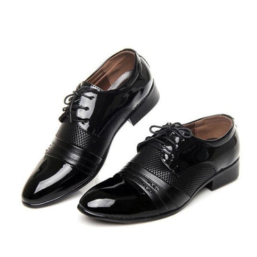Men Dress Shoes Pointed Toe Leather Hollow Outs Breathable Oxford Shoes