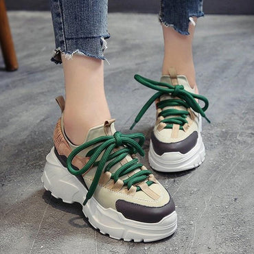 Women Platform Sneakers Height Increasing 7 cm Chunky Shoes