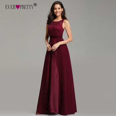 Elegant Prom Dress Sexy A-line Sleeveless O-neck Chiffon Lace Evening Party Gowns