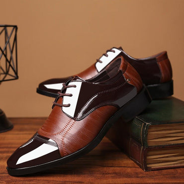 Men Dress Shoes Handmade Genuine Patent Leather And Nubuck Leather Patchwork