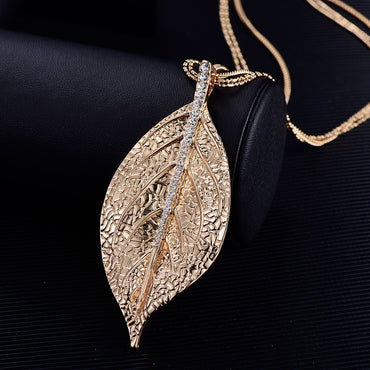 Luxury Gold Silver Plated Leaf Women Necklace