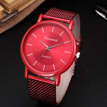 Simple Style Mesh Band Women Fashion Quartz Watches