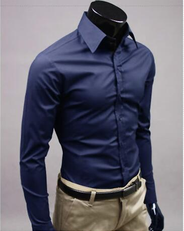 Men Long Sleeve Fashion Cotton Solid Color Dress Shirt