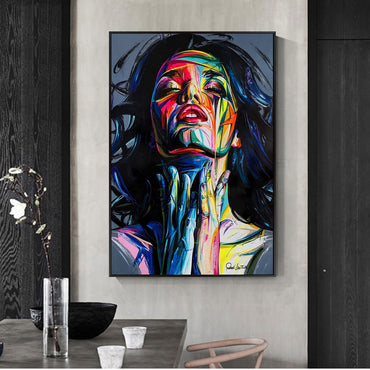 Graffiti Wall Art Abstract Girls Watercolor Canvas Painting For Home Decor