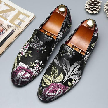 Men Dress Shoes Handmade Exquisite Embroidery Leather Elegant Formal Shoes