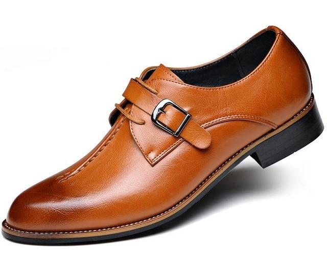 Men Dress Shoes Genuine Leather Retro Brogue Oxford Shoes
