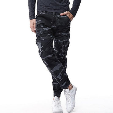 Men Cargo Pants Elastic Skinny Tactical Multi-pocket Camo Trousers